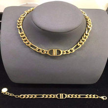 European and American fashion retro 1:1 necklace and bracelet, high-end letter D ladies jewelry set, holiday gift