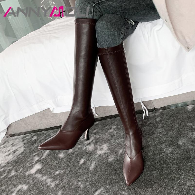 ANNYMOLI Winter Knee High Boots Women