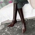 Женские сапоги на высоком каблуке-шпильке ANNYMOLI, зимние сапоги из натуральной кожи, облегающие эластичные сапоги на молнии, размер 39