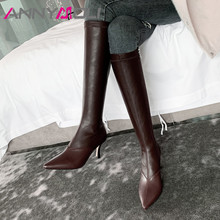Купить с кэшбэком ANNYMOLI Winter Knee High Boots Women Natural Genuine Leather Stiletto High Heel Boots Slim Stretch Zipper Shoes Female Size 39