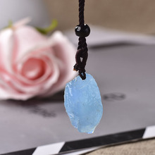 100 Natural Aquamarine Original Stone Pendant Natural Quartz Stone Raw Crystal Quartz Fashion For Men Women