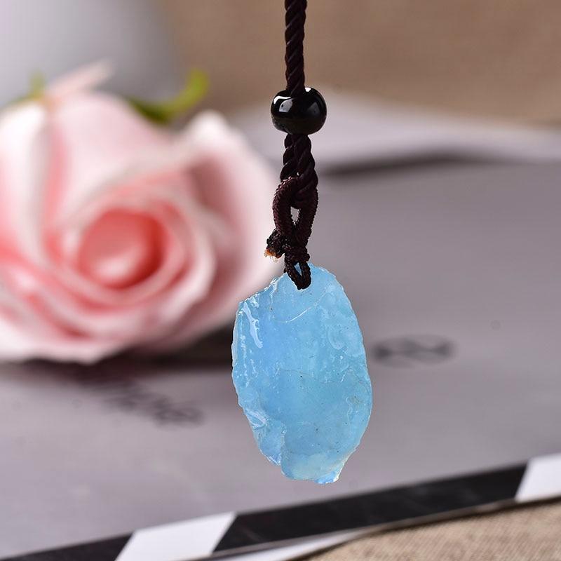 100% natural aquamarine original pedra pingente de quartzo natural pedra de cristal cru quartzo moda para homens jóias presente diy