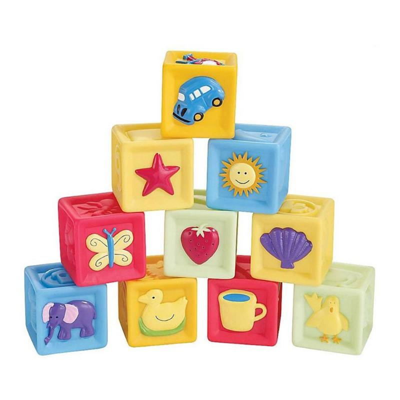 Non-toxic Enamel Baby Teether Grasp Building Blocks Three-dimensional Relief Square Squeeze Toy For Infant Toddlers