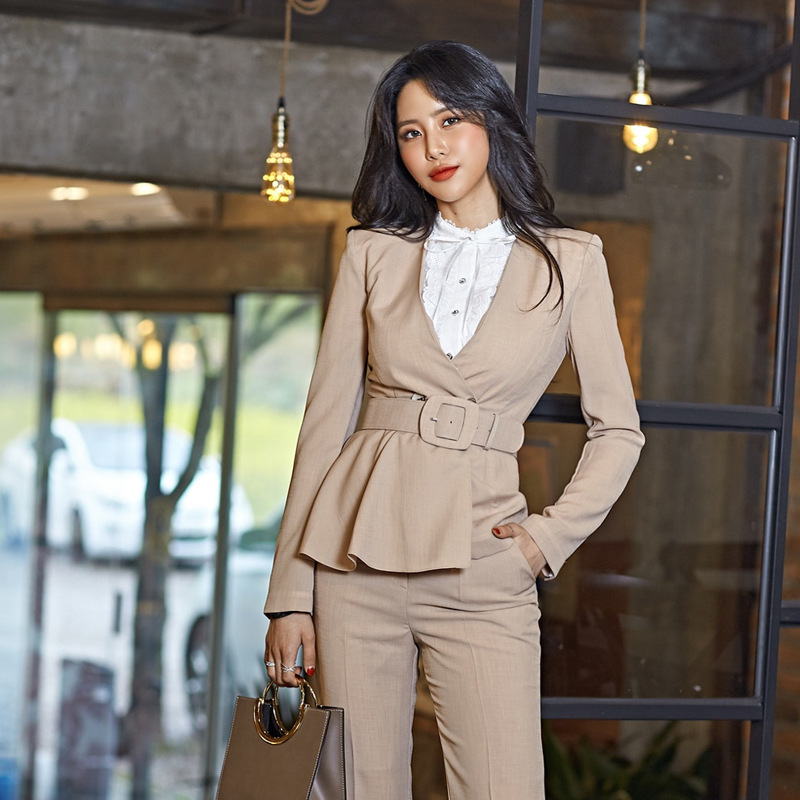Women Pants Suit Two-piece 2019 New Autumn And Winter Slim Belt Long-sleeved Women's Jacket Blazer Casual Trousers High Quality