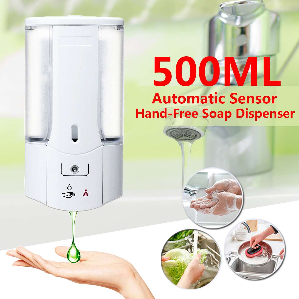 500mL Wall Mounted Automatic Infrared Sensor Hand-Free Soap Dispenser With Cover Bathroom Office Hotel Hand Sanitizer Batteries