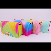 Luxury Rainbow Purse Chain Lady Colorful PVC Jelly Bags Women Candy Thick Chain Cross Body Bag Woman Flap Plaid Bolsos