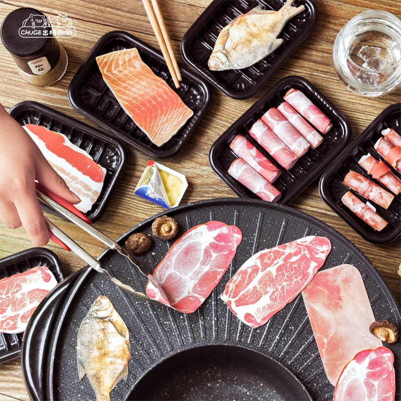 50Pcs/Bag Japanese Food Steak Salmon Bacon Stickers DIY Scrapbooking Album Junk Journal Planner Decorative Stickers