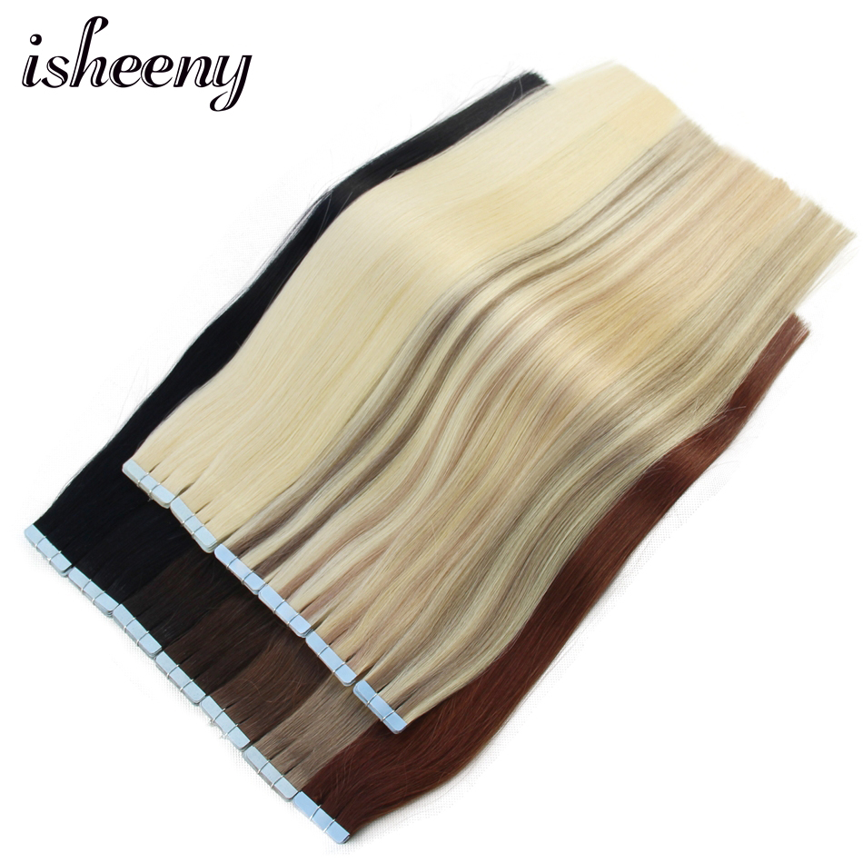 "Isheeny Human Hair Tape In 12"" 14"" 16"" 18"" 20"" 22"" Extensions Straight European Remy On Adhesive Invisible PU Weft 20pcs 40pcs"