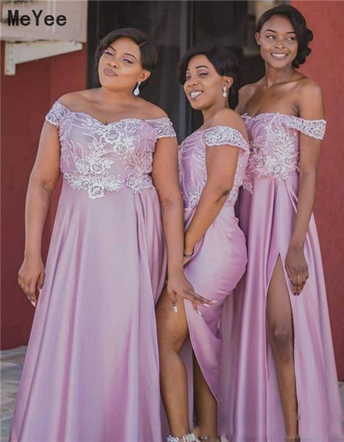 Plus Size Side Split Bridesmaids Dresses Long 2020 Off Shoulder Lace-up Back Maid of honor Wedding Guest Party Gowns Custom