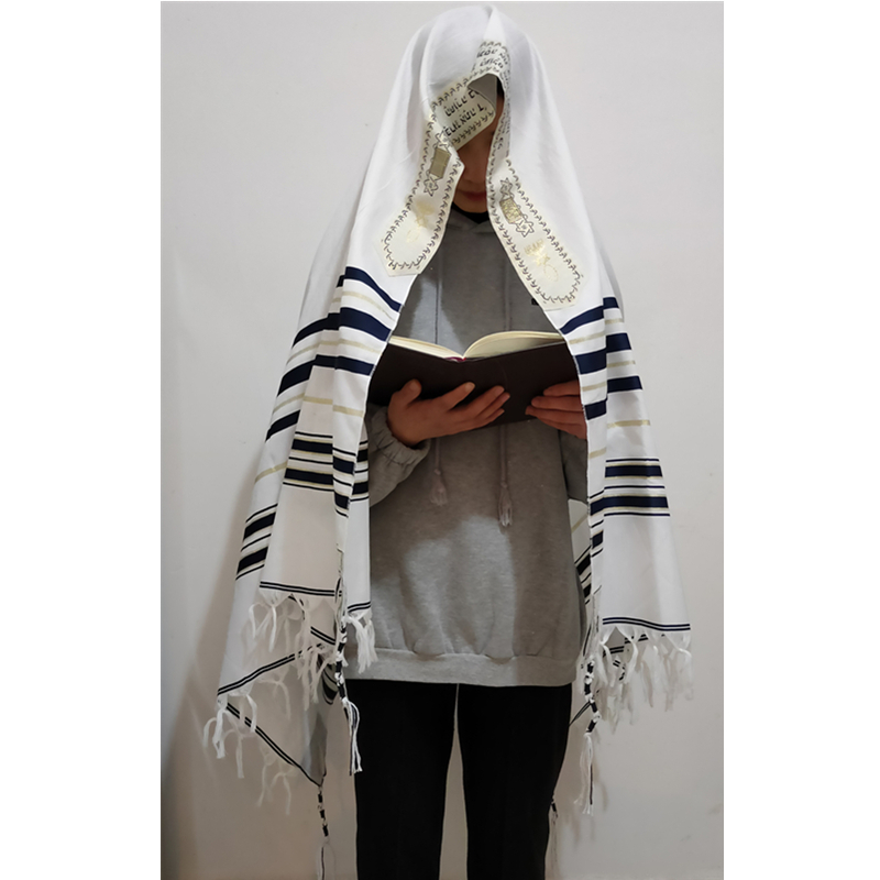 Tallit Prayer Shawl Israel 110*160cm Polyester Talit Zipper Bag Tallis Israeli Praying Scarfs Priez Wraps Prayer Shawl Talis
