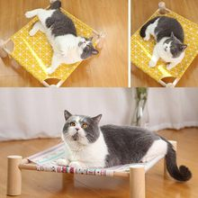 Cat Beds Raised Lifted Hammock Stand With Frame Suspenden Breathable Platform Detachable Washable Pad Pet Hammock(China)