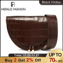 Herald mode femmes sacs à main Vintage Crocodile demi cercle sacs de selle en cuir PU sacs à bandoulière pour femme sac à bandoulière conception