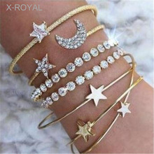 X-ROYAL 4Pcs/set European Style Crystal Moon Star Women Open Bangles Fashion Gold Silver Color 6.6cm Width Alloy Bracelets Sets