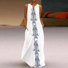 Nowy 2019 kobiet czeski długa sukienka w kwiaty letnia plaża Casual długa sukienka letnia etniczna bawełna seksowna sukienka z dekoltem w serek