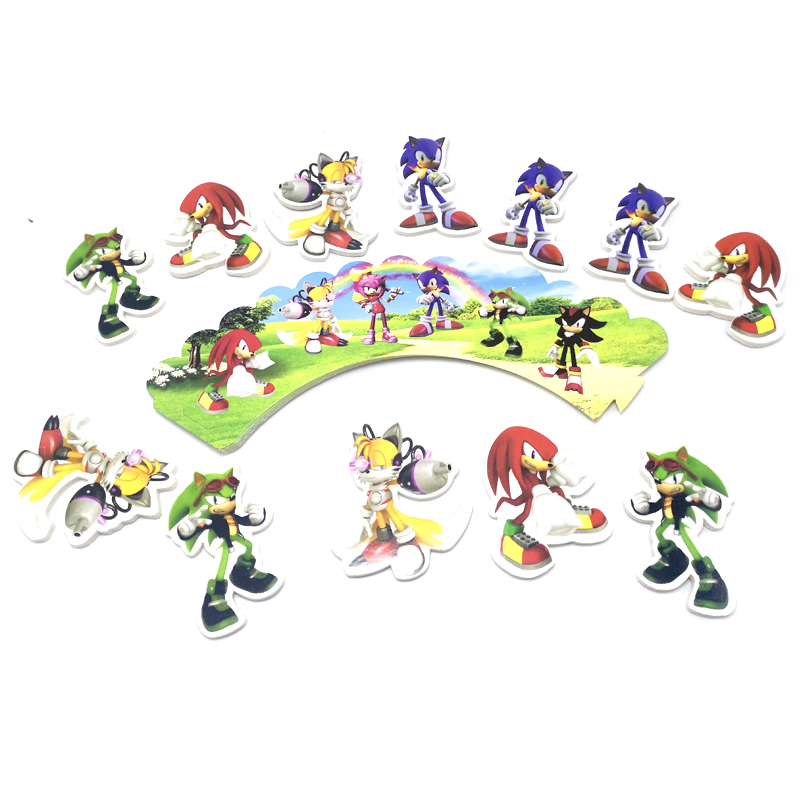 24pcs Pack Boys Kids Favors Birthday Party Sonic The Hedgehog Design Cake Toppers Decorate Baby Shower Cupcake Wrappers Cake Decorating Supplies Aliexpress
