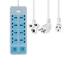 New Universal Power Strip Way AU UK EU prese prolunga 8AC 4USB porte caricabatterie presa adattatore