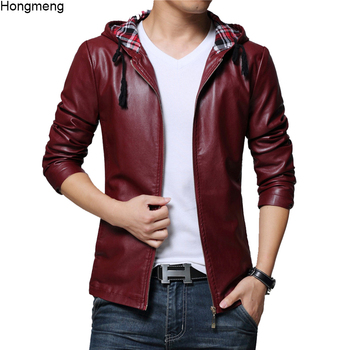 New mens faux leather jackets hoody coat black wine red big size 5XL drop shipping high quality Male plus coats mens clothing