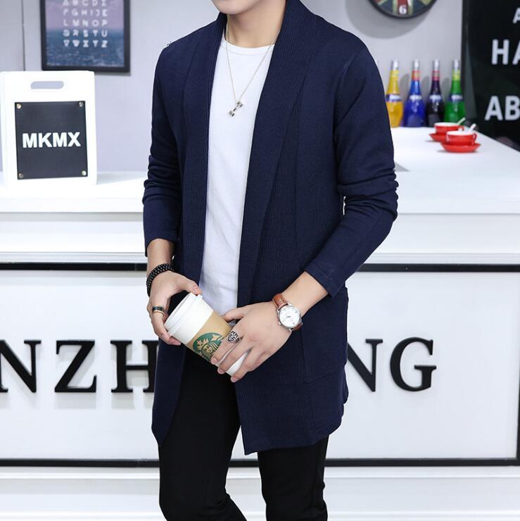 Autumn New Men's Long Korean Cultivation Windbreaker Men Sweater Large Size Cardigan Homme Business Casual Slim Fit Coat