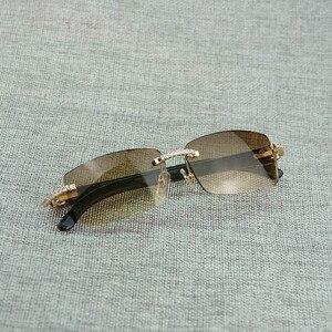Image 4 - 라인 석 블랙 화이트 버팔로 경적 무테 선글라스 남자 천연 나무 태양 안경 레트로 그늘 oculos 안경 클럽 여름