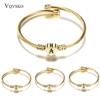 Gold Color Stainless Steel Heart A-Z Letter Bracelet Bangle for Woman Jewelry Alphabet Charm Bracelets Women Dropshipping