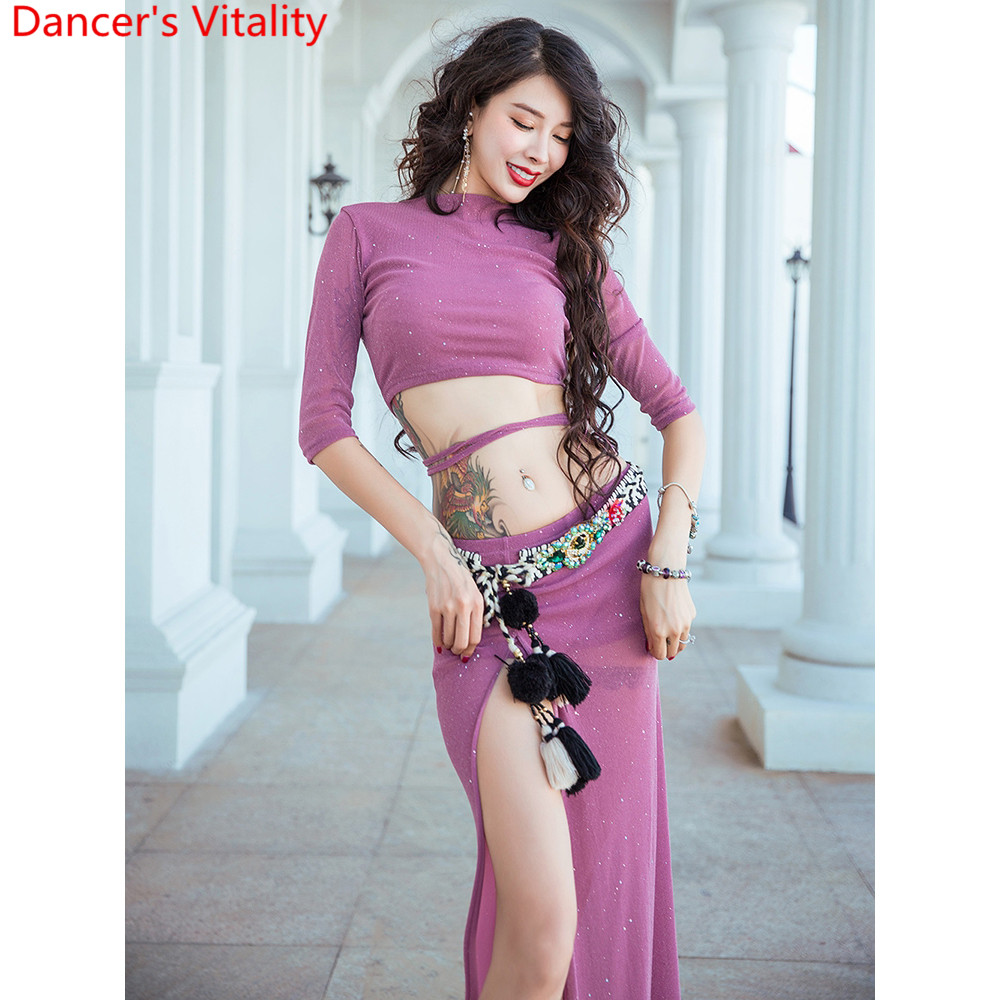 Belly Dance Practice Training Clothes Women Adult Elegant Sexy Sparkling Top Long Skirt Oriental Indian Dancing Competition Set