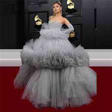 Tiered Tulle Dubai Celebrity Gown 2020 Newest Design Puffy Strapless Evening Dresses For Special Occasion Gray Arabic Prom Dress