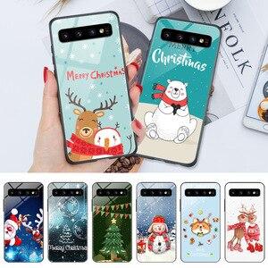 Чехол-накладка на заднюю панель для телефона с Рождеством нового года для samsung Galaxy J6 Plus 2018 J4 J1 J3 2016 J5 J7 2017 глянцевый яркий Жесткий Чехол