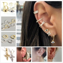 BOAKO Trendy 925 Silver Earrings For Women/Men Cross Ear Bone Small Hoop Girl aretes Gold Punk eardrops Z5