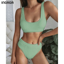 INGAGA 2020 Bikini Set High Waist Swimsuit Female Solid Ribbed Swimwear Women Biquini Bathing Suits Push Up Two-pieces Bikinis