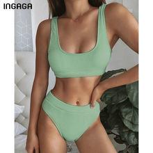 Ingaga 2021 Bikini Set Hoge Taille Badpak Vrouwelijke Effen Geribbelde Badmode Vrouwen Biquini Badpakken Push Up Twee-Stukken bikini