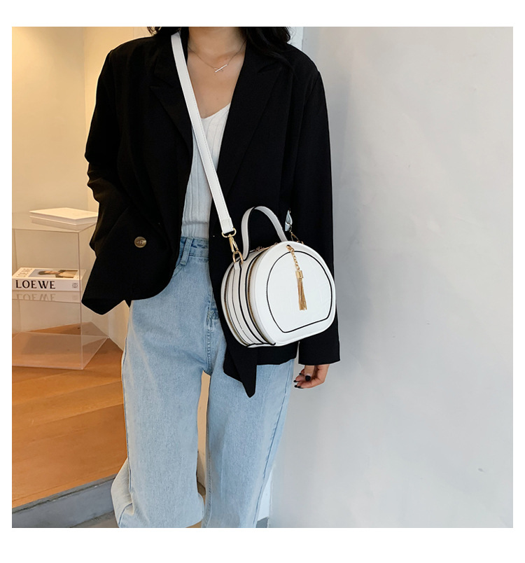Women Stone Pattern Shoulder Bag Fashion Ladies Messenger Bags Tassel Handbag Round Simple High Quality Pu Leather Women Bag