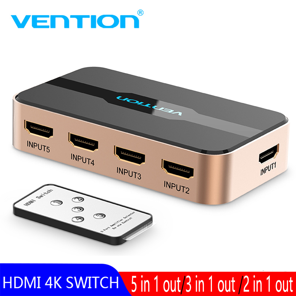 Vention HDMI Switch <font><b>5</b></font> Ports 4K 3D <font><b>5</b></font> <font><b>x</b></font> <font><b>1</b></font> HDMI Splitter for Mi Box PS4 Nintendo Switch PC <font><b>5</b></font> In <font><b>1</b></font> Out 3 Port HDMI Switcher Splitter image
