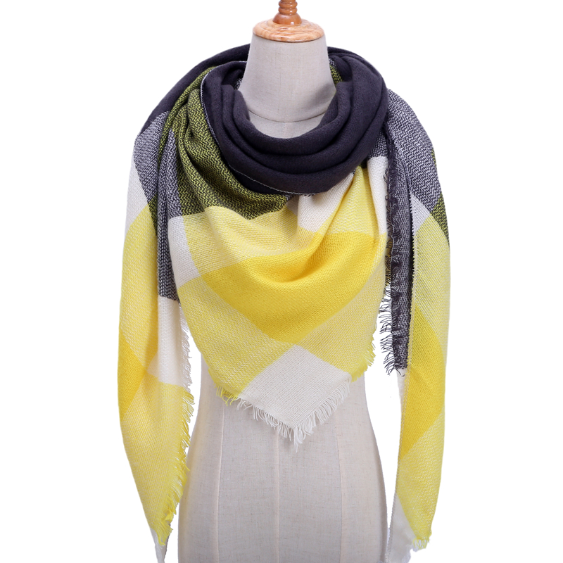 Design Brand Women Scarf Plaid  Winter Warm Cashmere Scarves Triangle Knitted Neck Shawls And Wraps Female Blanket Echarpe