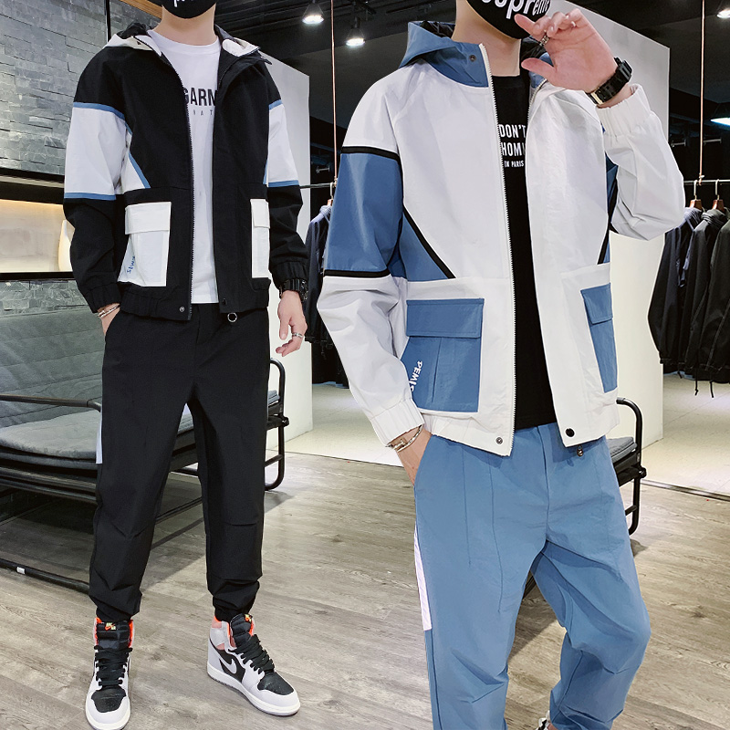 Military Hoody Tracksuit Men Pocket Casual Loose Blue Zipper Men Sports Suits Long Sleeve Hip Hop Street Mens Clothes B60