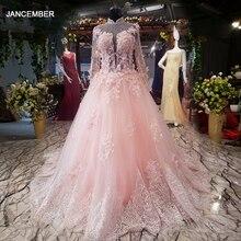 LS08871 alta pescoço rosa vestido de noite A linha de mangas de tule longo ilusão lace up voltar vestido de festa formal simples 2018 com flores