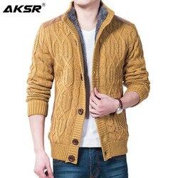 Мужской теплый кардиган AKSR, Толстая куртка-кардиган с бархатной подкладкой для зимы и весны, Осень-зима