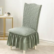 Estilo nórdico elástico jantar cadeira elástica capa, seersucker tecido elastano, para cadeiras de encosto alto, para o casamento do hotel em casa, 14 cores