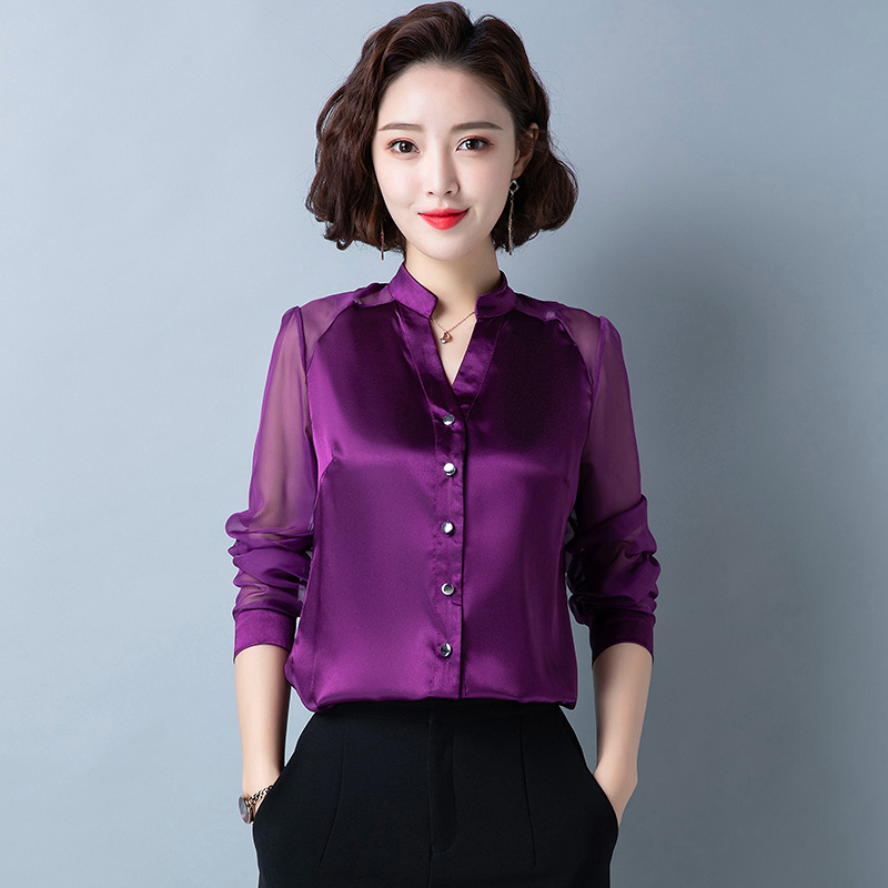 Korean Silk Women Shirts Mesh Long Sleeve Satin Women Blouses Plus Size 4XL Office Lady Womens Tops And Blouses Blusa Feminina