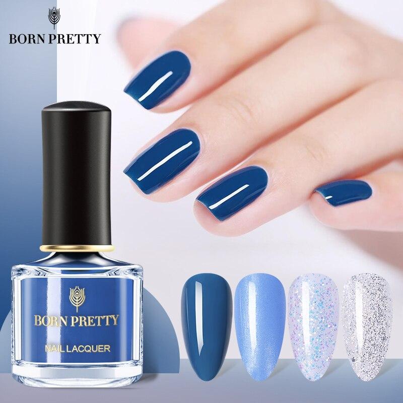 BORN PRETTY vernis à ongles coloré solide 36 couleurs bleu nu paillettes platine vernis à ongles brillant Art des ongles vernis bricolage