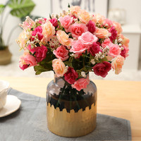 27cm New Simulation Small Rose Flower Silk Artificial Flower Wedding Bridal Bouquet Home Christmas Party Decoration Fake Flower