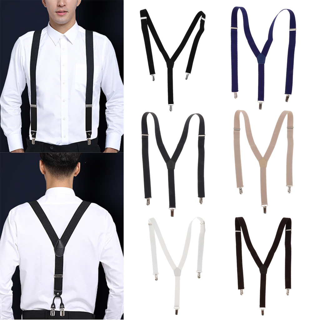 Mens Skinny Suspenders Y Back Wide Elastic Adjustable Trouser Clips Braces For Work Special Event Or With Casual Attire