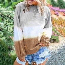 Зимний пуловер контрастного цвета для женщин на каждый день градиентный Femme Harajuku с длинным рукавом Осенний корейский Топ пуловеры большого размера