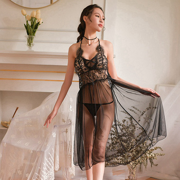 Long Gowns Sexy Lace Ladies Womens Clothing Lingerie Nightgown See Though Sleepwear Night Dress Backless Sleepshirts black yjsfg house fashion sexy womens nightgowns lace sleepshirts half sleeve lace sleepwear female silk fashion nightgown night dress