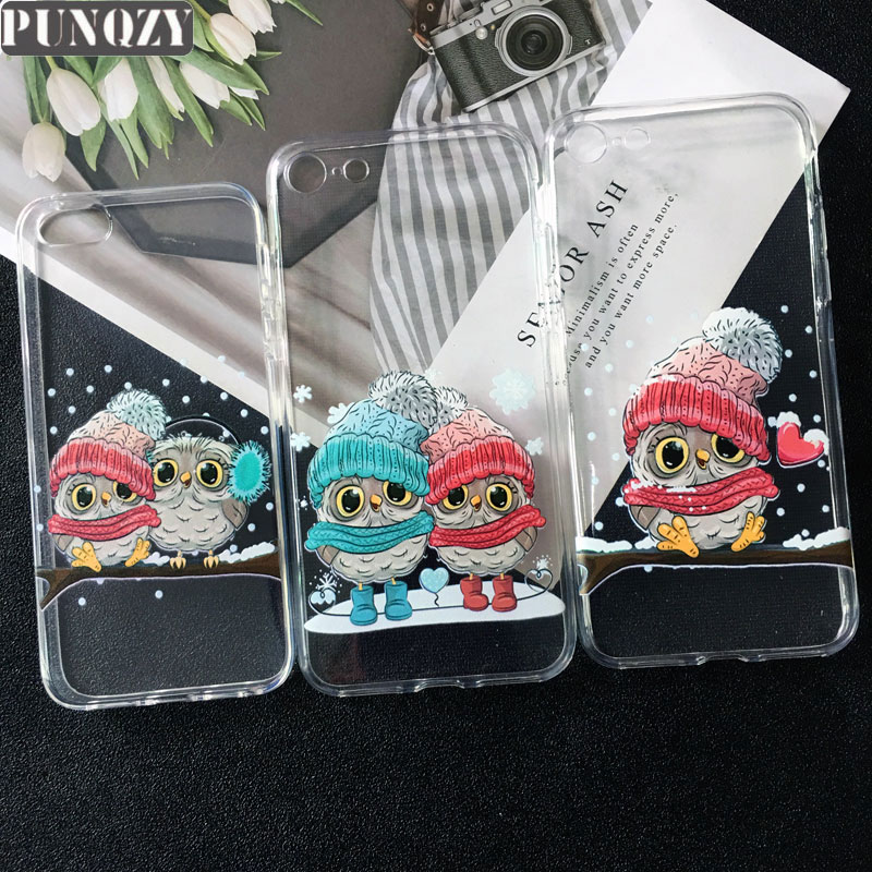 PUNQZY Cute owl Cartoon couple love boy girl Gift Phone Case For samsung S9 Plus S8 S6 S7 edge A5 A7 Soft TPU Cover for A6 2018