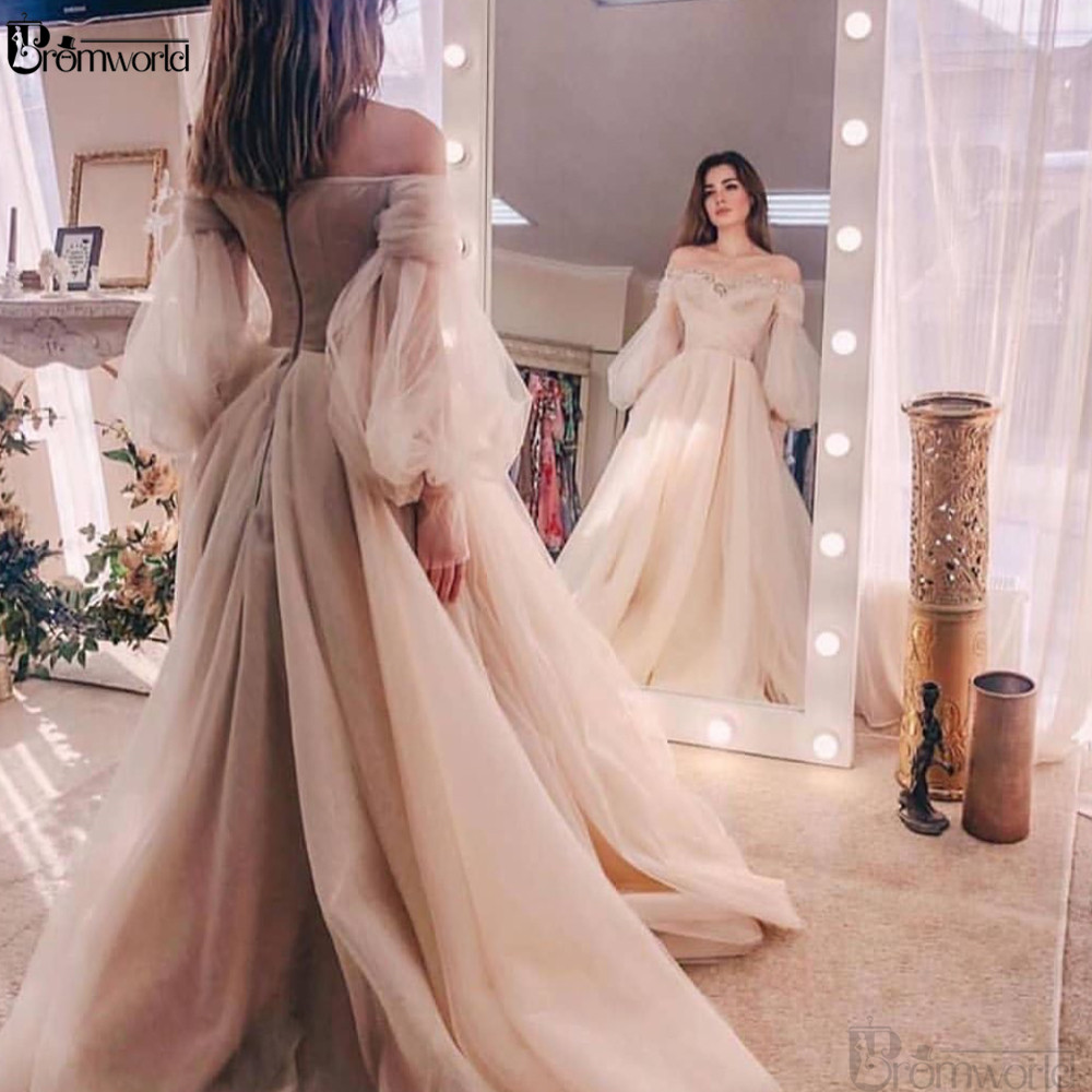 Abendkleider Ivory Evening Gowns 2020 Organza Off The Shoulder Long Sleeves Formal Dress Robe De Soiree Abiye Prom Dresses