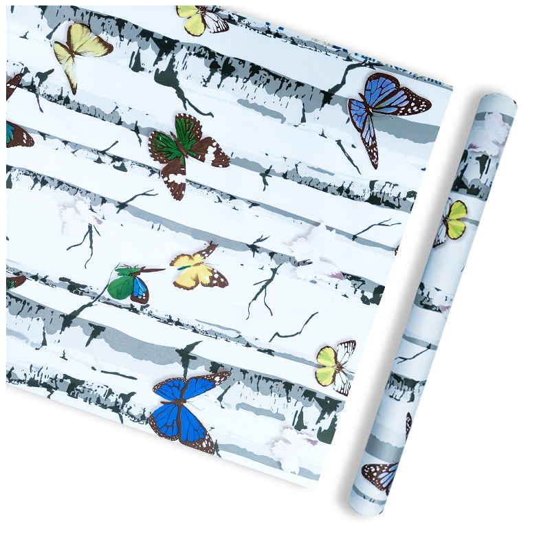 Wholesale Cool Butterfly Wallpaper Self-Adhesive Dormitory Bedroom Living Room Wall Waterproof White Wood Wallpaper PVC