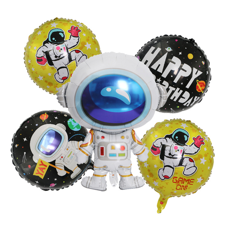 1 Set Universe Galaxy Theme Outer Space Balloons Astronaut Rocket Air Balls Birthday Party Children's Toys Baby Cartoon Hat