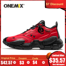 ONEMIX Men Sneakers Technology Style Leather Damping Comfortable Man Red Sport Running Shoes for Women Platform Retro Dad Shoes