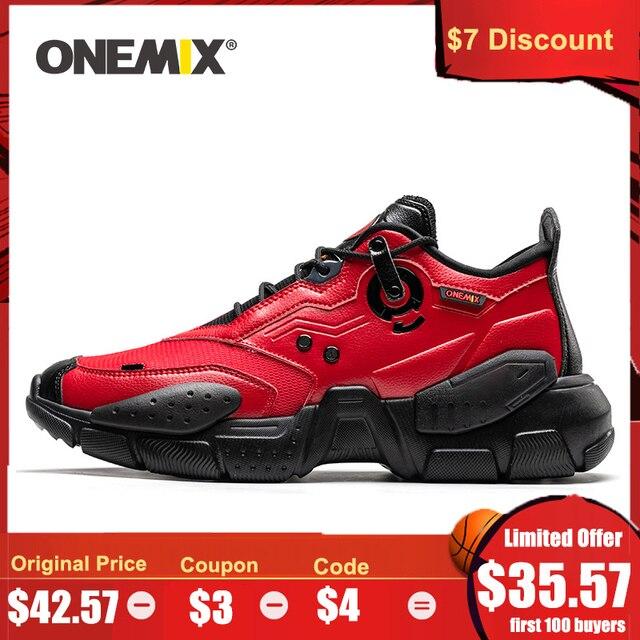 أحذية رياضية للرجال من ONEMIX أحذية بنمط تكنولوجي من الجلد أحذية مريحة للركض وممارسة الرياضة باللون الأحمر للسيدات أحذية ريترو أبي