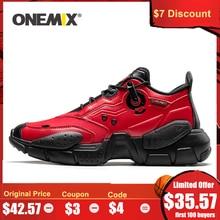 Onemix男性スニーカー技術スタイル革減衰快適な男赤のスポーツランニングシューズ女性プラットフォームレトロお父さんの靴